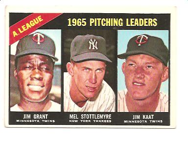 1966 Topps #224 AL Pitching Leaders/Jim Grant/Mel Stottlemyre/Jim Kaat