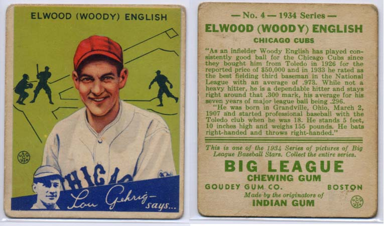 1934 Goudey #4 Woody English front image
