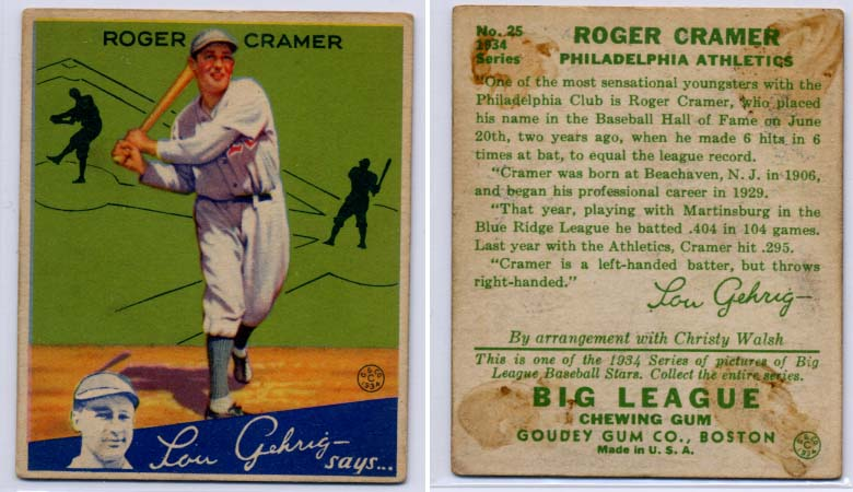 1934 Goudey #25 Roger Cramer RC