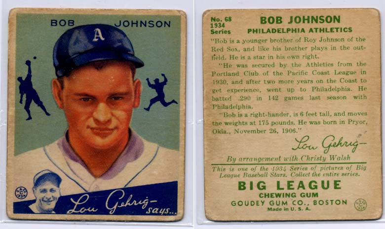 1934 Goudey #68 Bob Johnson RC front image