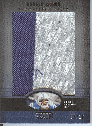 2009 Topps Unique Jumbo Relic Patch #DB2 Donald Brown/10