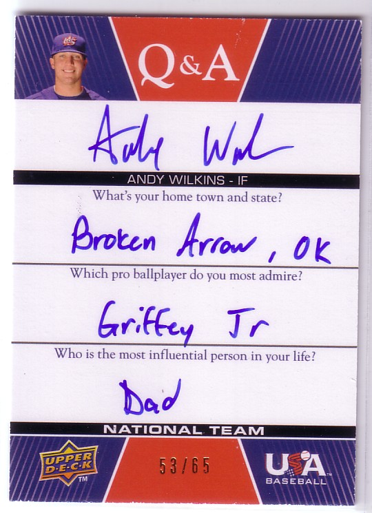 2009-10 USA Baseball National Team Q And A Autographs #WI Andy Wilkins
