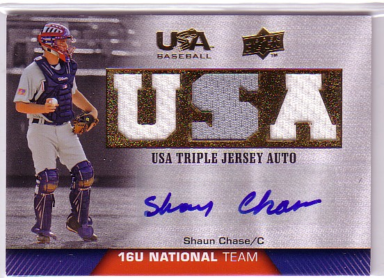 2009-10 USA Baseball 16U National Team Jersey Autographs #SC Shaun Chase