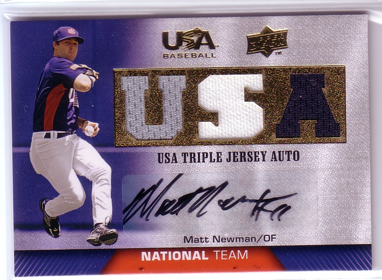 2009-10 USA Baseball National Team Jersey Autographs Blue #MN Matt Newman
