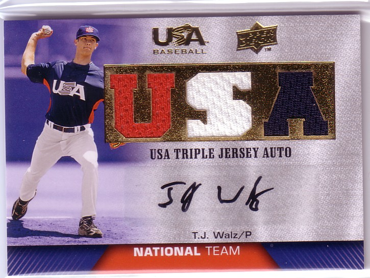 2009-10 USA Baseball National Team Jersey Autographs Blue #TW T.J. Walz