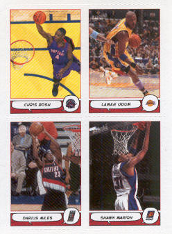 2004-05 Bazooka 4-on-1 Stickers #24 Chris Bosh/Lamar Odom/Darius Miles/Shawn Marion