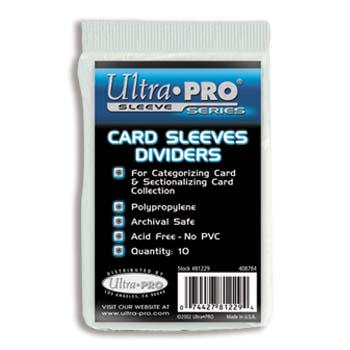 Ultra-Pro #81229  Heavy White Poly. Card Dividers  (5 packs 0f 10/bag)