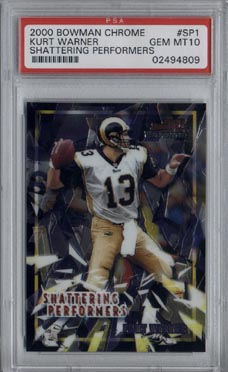 2000 Bowman Chrome Football #SP1 Kurt Warner Shattering Performers PSA Gem Mint 10