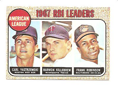 1968 Topps #4 AL RBI Leaders/Carl Yastrzemski/Harmon Killebrew/Frank Robinson