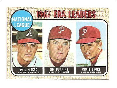1968 Topps #7 NL ERA Leaders/Phil Niekro/Jim Bunning/Chris Short
