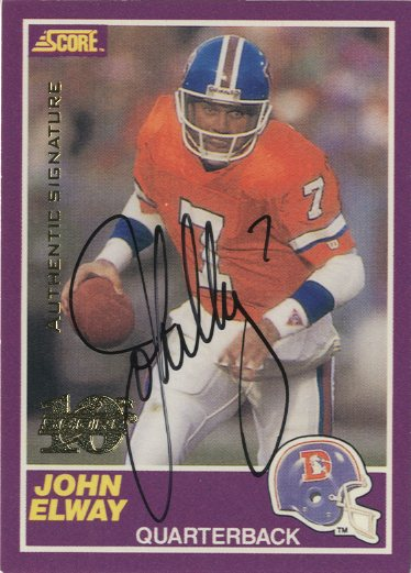 1999 Score 10th Anniversary Reprints Autographs #3 John Elway front image