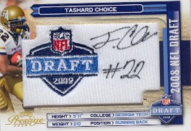 2008 Playoff Prestige NFL Draft Autographed Patch Draft Logo #7 Tashard Choice/250