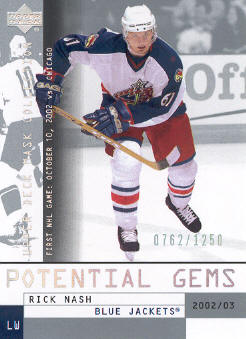 2002-03 UD Mask Collection #178 Rick Nash RC