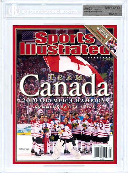 SPORTS ILLUSTRATED Commemorative BGS Uncirculated CANADA HOCKEY OLYPMIC CHAMPS front image