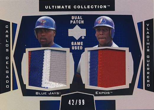 2003 Ultimate Collection Dual Patch #CV Carlos Delgado/Vladimir Guerrero/99