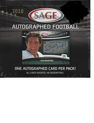 1 SEALED PACK : 2010 Sage Autographed Football (1 Autograph in Every Pack - No Redemptions) (Poss autographs for Bradford, Clausen, Spiller, McCoy or Suh & others) 