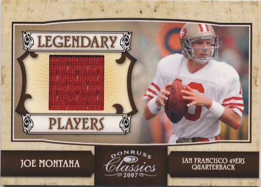 2007 Donruss Classics Legendary Players Jerseys #27 Joe Montana