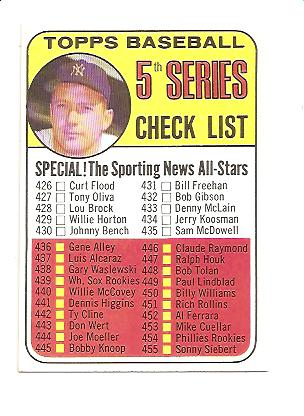 1969 Topps #412 Checklist 5 Mickey Mantle DP