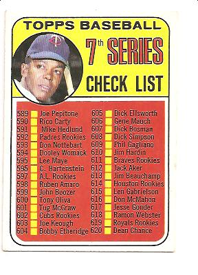 1969 Topps #582B Checklist 7 Tony Oliva Red Circle on Back