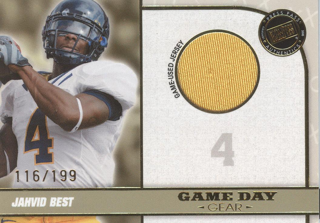 2010 Press Pass PE Game Day Gear Jerseys Gold #GDGJB Jahvid Best