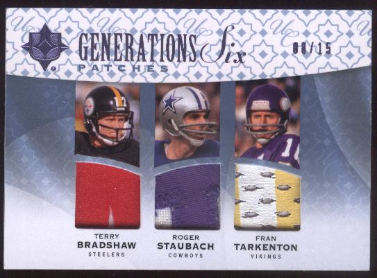 2009 Ultimate Collection Ultimate Generations Six Jerseys Patches #6 Drew Brees/Eli Manning/Fran Tarkenton/Peyton Manning/Roger Staubach/Terry Bradshaw