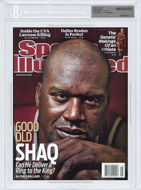 SPORTS ILLUSTRATED BGS SI Uncirculated SHAQ SHAQUILLE O'NEAL 5/17/10
