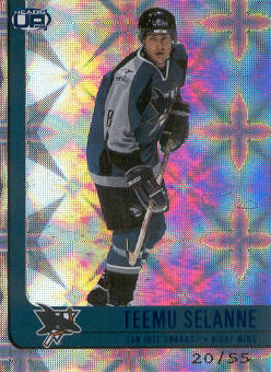 2001-02 Pacific Heads Up Blue #85 Teemu Selanne
