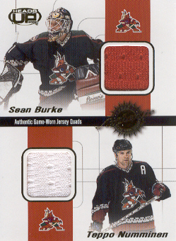2001-02 Pacific Heads Up Quad Jerseys #26 Sean Burke/Teppo Numminen/Radoslav Suchy/Jyrki Lumme