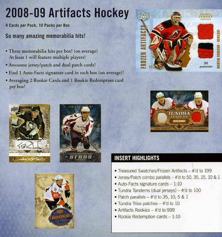 2008-09 (2009) Upper Deck Artifacts Hockey Factory Sealed 8 Pack Blaster Box With Possible Autographed Cards & Retail Exclusive Jersey Cards - In Stock Now
