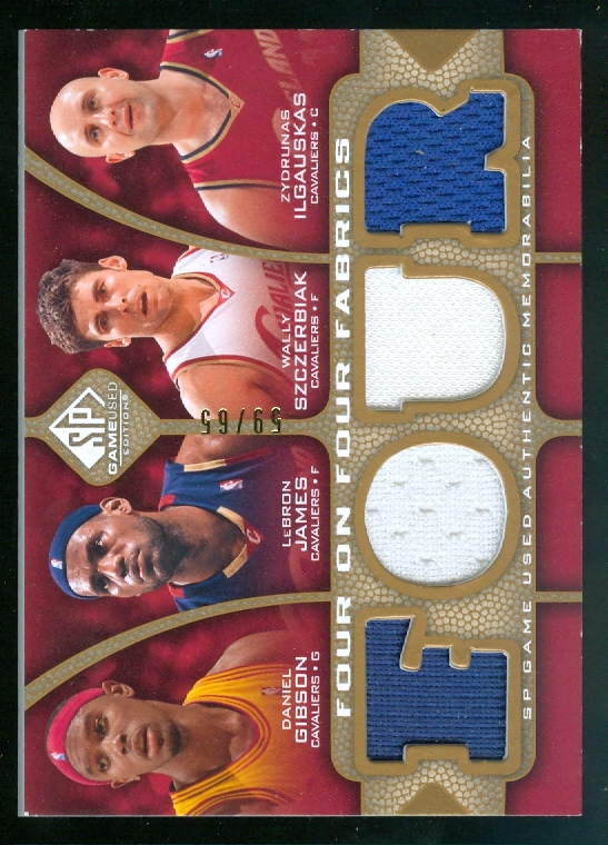 2009-10 SP Game Used 4 on 4 Fabrics 65 #FFCLEDET Rodney Stuckey/Arron Afflalo/Kwame Brown/Richard Hamilton/LeBron James/Wally Szczerbiak/Zydrunas Ilgauskas/Daniel Gibson