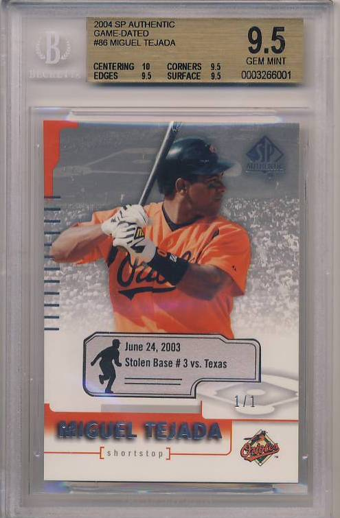 2004 SP Authentic Game-Dated #86 Miguel Tejada