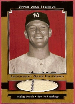 2001 Upper Deck Legends Legendary Game Jersey #JMM Mickey Mantle Uni SP/245 *
