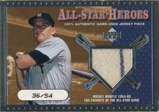 2001 Upper Deck All-Star Heroes Memorabilia #ASHMM M.Mantle Jsy/54