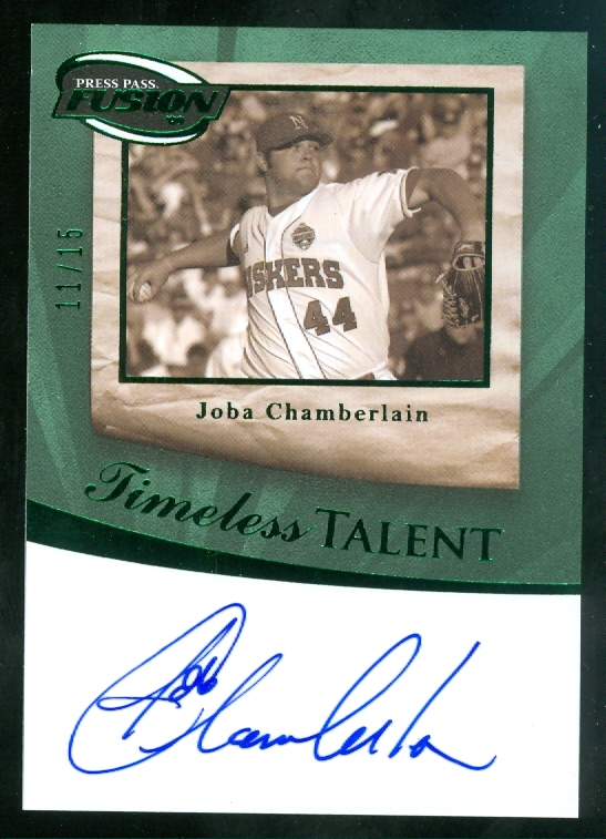 2009 Press Pass Fusion Timeless Talent Autographs Green #TTJC Joba Chamberlain/15
