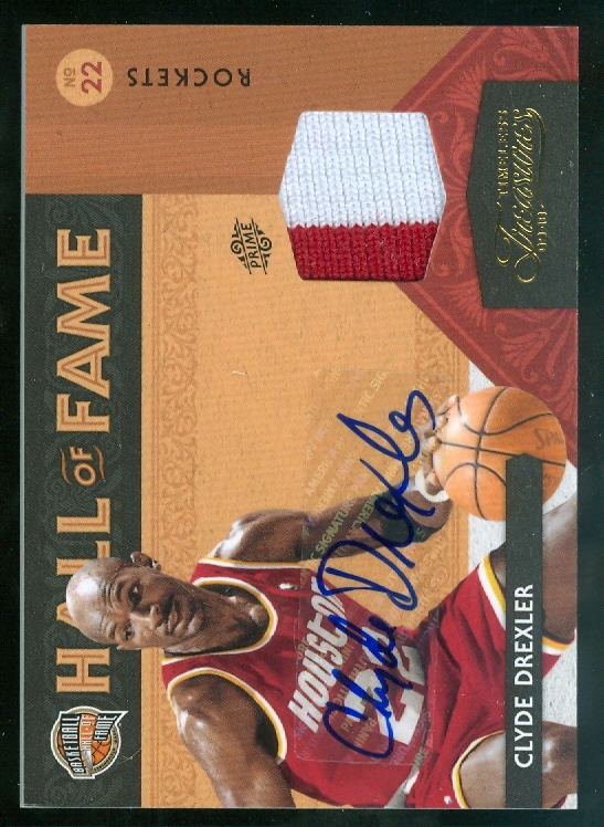 2009-10 Timeless Treasures HOF Materials Jerseys Prime Signatures #25 Clyde Drexler