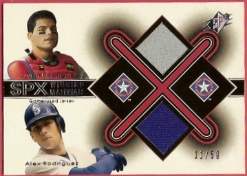 2001 SPx Winning Materials Jersey Duos #IRAR Ivan Rodriguez/Alex Rodriguez