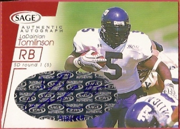 2001 SAGE Autographs Red #A44 LaDainian Tomlinson