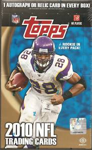 2010 Topps Football Factory Sealed HOBBY Box - 1 Autograph Or Relic Card & 6 Gridiron Giveaway Redemption Cards Per HOBBY Box - In Stock   front image