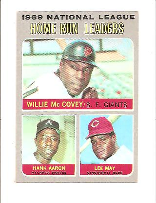 1970 Topps #65 NL Home Run Leaders/Willie McCovey/Hank Aaron/Lee May