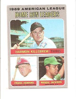 1970 Topps #66 AL Home Run Leaders/Harmon Killebrew/Frank Howard/Reggie Jackson