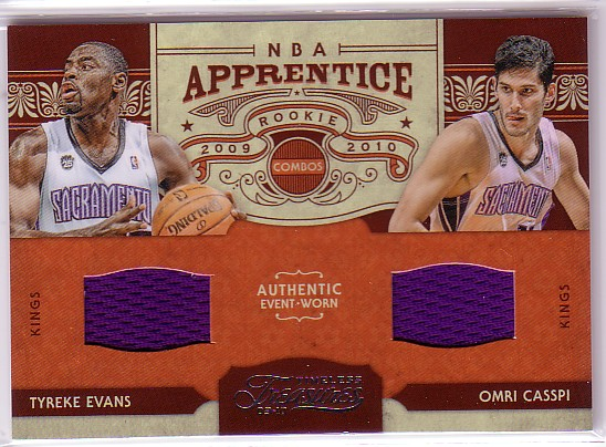 2009-10 Timeless Treasures NBA Apprentice Combo Materials #10 Tyreke Evans/Omri Casspi