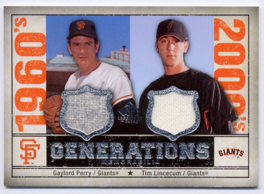 2008 SP Legendary Cuts Generations Dual Memorabilia #PL Gaylord Perry/Tim Lincecum