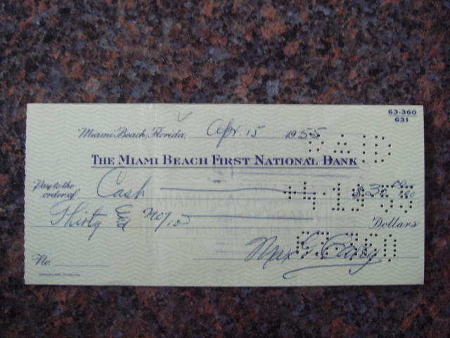 Max Carey Autographed Signed Bank Check