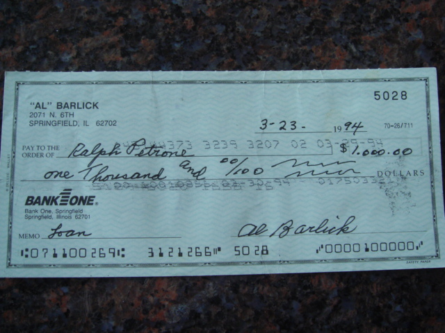 Al Barlick Autographed Signed Bank Check