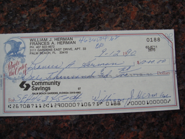 Billy Herman Autographed Signed Bank Check