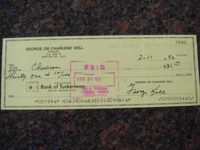 George Kell Autographed Signed Bank Check