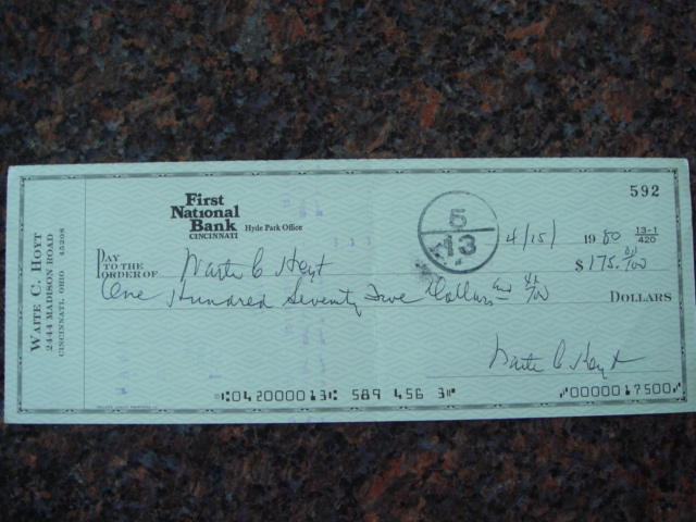 Waite Hoyt Autographed Signed Bank Check signed 3 times