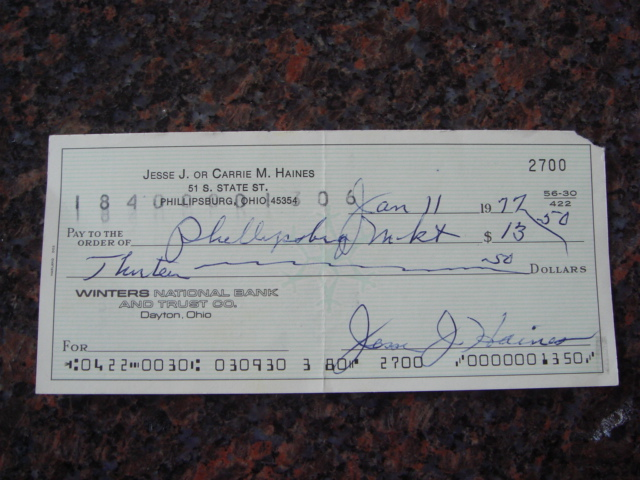 Jesse Haines Autographed Signed Bank Check