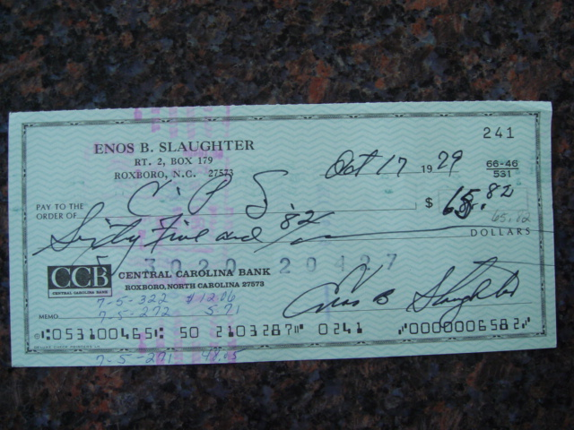 Enos Slaughter Autographed Signed Bank Check