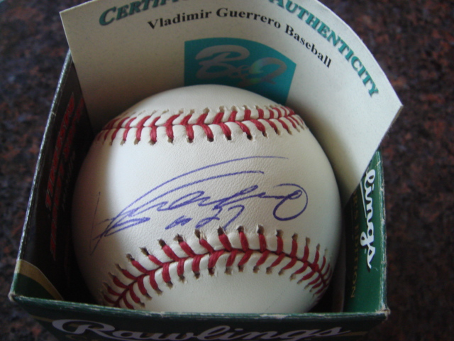 Vladimir Guerrero Autographed Official MLB Baseball With B & J COA
